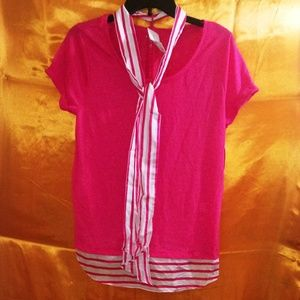 New York & Company Short Sleeve Shirt/ W Scarf